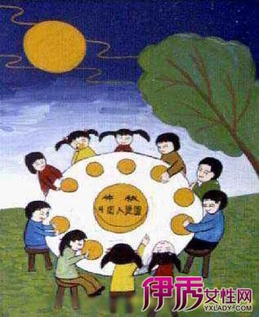 儿童中秋节简笔画 中秋家人共团圆