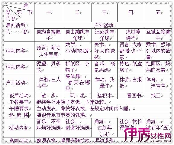 【幼儿园中班周计划表】【图】简单的幼儿园中班周表