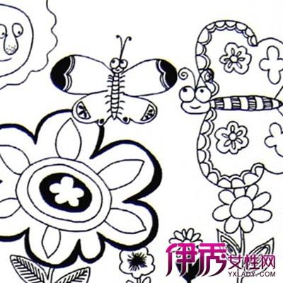 漂亮简单儿童线描画_图片素材图片