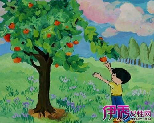 欣赏秋天儿童画 感受小孩的童话世界