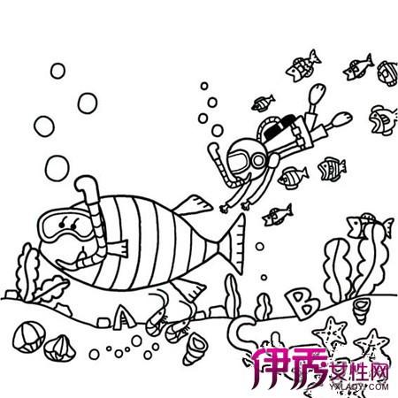 海底世界简笔画-海底世界儿童画范画图片展示 向你介绍幼儿学绘画的3