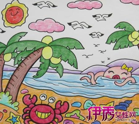 健康积极向上的儿童画-看海边儿童画 走进孩子的 一画一世界