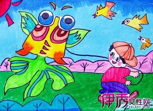 【放风筝图片儿童画】【图】放风筝图片儿童画展示-幻灯片出示放风