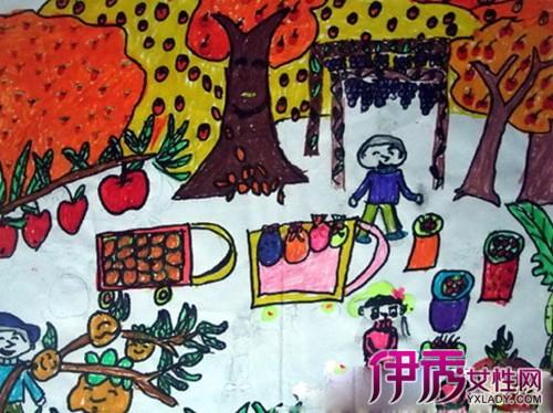 秋天水果图片儿童画展示 展现秋天 丰收的季节的魅力