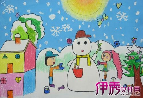儿童画冬天的图画图片