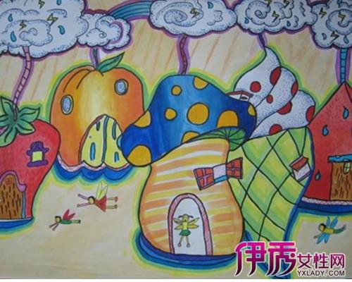 儿童画水果房子图片