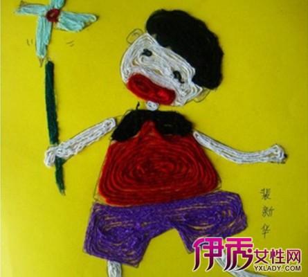 【儿童手工毛线贴画】【图】儿童手工毛线贴画图片