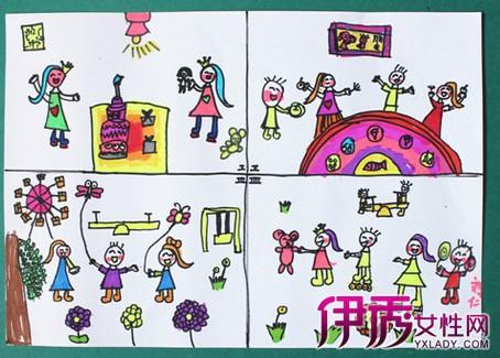 儿童四格连环画图片欣赏 分享油画棒创意儿童画