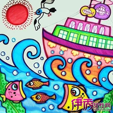 轮船儿童画图片展示 2个技巧教你如何指导儿童画画图片